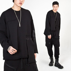 Black patchwork long sleeves t-shirts