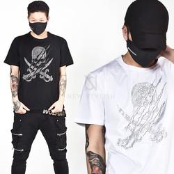 Beads stud double sword skull t-shirts