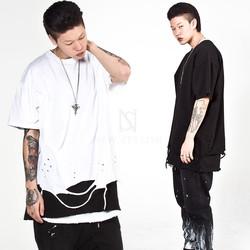 Distressed bottom hem t-shirts