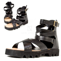 Zigzag thick outsole ankle sandals