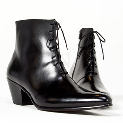 Plain black high heel ankle boots