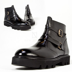 Twined belt zigzag thick outsole boots