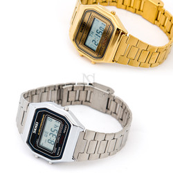 Retro metal digital watch