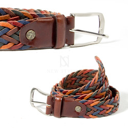 Colorful braided leather belt