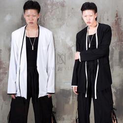 Contrast hem line linen jacket