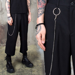 O-ring chain pleated black crop pants