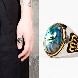 Blue green onyx crown ring