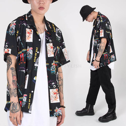 Graphic printed short sleeve silket shirts