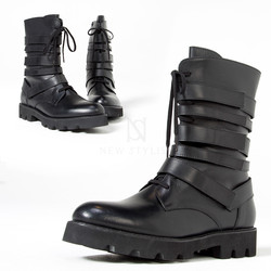 Multiple hook and loop thick outsole hightop boots