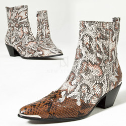 Snake pattern western high heel leather boots
