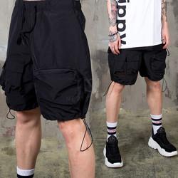 Multiple pocket black jogger shorts