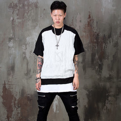 Contrast wrinkled front t-shirts