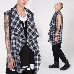 Asymmetric checkered shawl vest