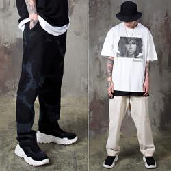 Grunge cloud loose banded pants