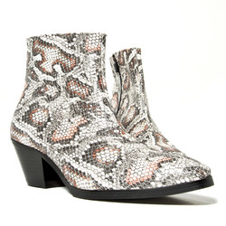 Snake pattern leather high heel ankle boots