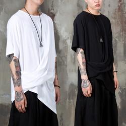 Avant-garde wrinkled side unbalance t-shirts