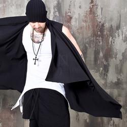 Avant-garde black open shawl vest