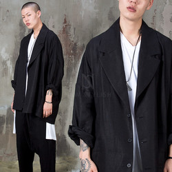 Black loose fit linen blazer