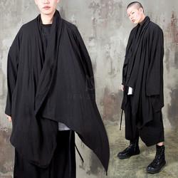 Avant-garde asymmetric linen shawl cardigan