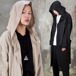 Avant-garde big hooded linen long coat