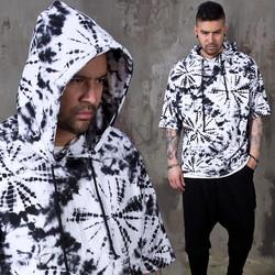 Sumi-e printed back zipper hoodie