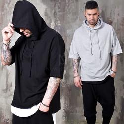 Side opening Short sleeve hoodie