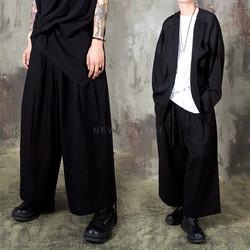 Samurai vibe wide linen banded pants