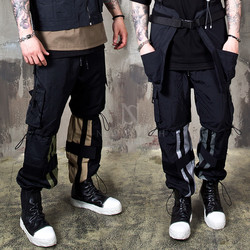 Multiple stopper contrast techwear pants
