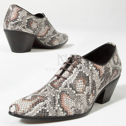 Gray snake patterned leather high heel shoes