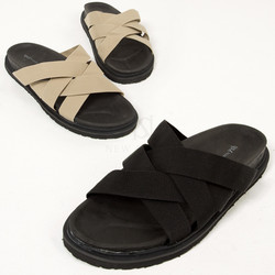 Double crossed strap slipper