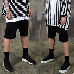 Black baggy banded shorts