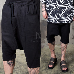 Linen black baggy shorts