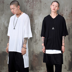 Unbalanced long V-neck t-shirts
