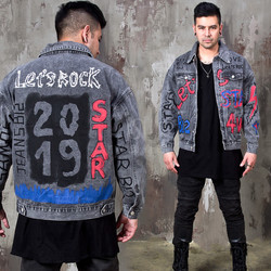 Washed black rocker denim jacket