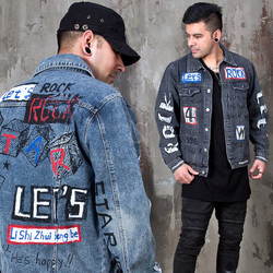 Hand painted lettering scribble rocker denim jacket