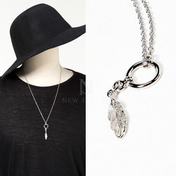 Ring leaf charm chain necklace