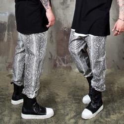 Snake patterned banded pants