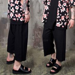 Linen wide banded crop pants