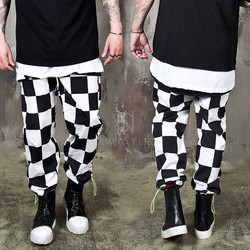 Chess checkered banded pants