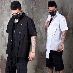 Double long strap cargo pocket shirts