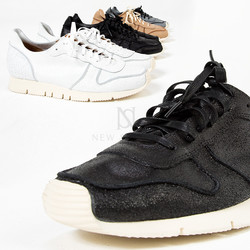 Contrast cracked leather sneakers