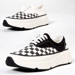 Chess checkered contrast big sole sneakers
