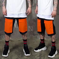 Orange pocket banded shorts