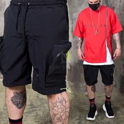 Big zipper pocket banded shorts