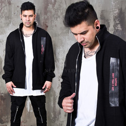 Contrast patchwork black zip-up jacket