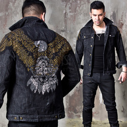 Bead studded eagle denim jacket