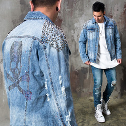 Studded beads skull blue denim jacket