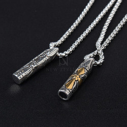 Engraved cross cylinder charm chain necklace