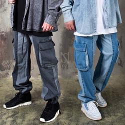 Contrast loose fit denim cargo pants