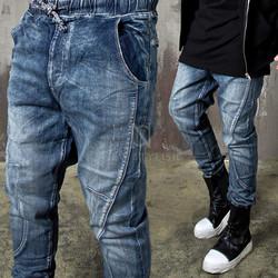 Curved stitch line denim jogger baggy pants